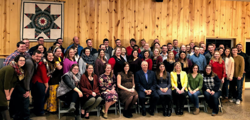 Photo of Past Pennsylvania State FFAOfficers at the 2018 PSO Holiday Event with Mike Brammer sitting front and center